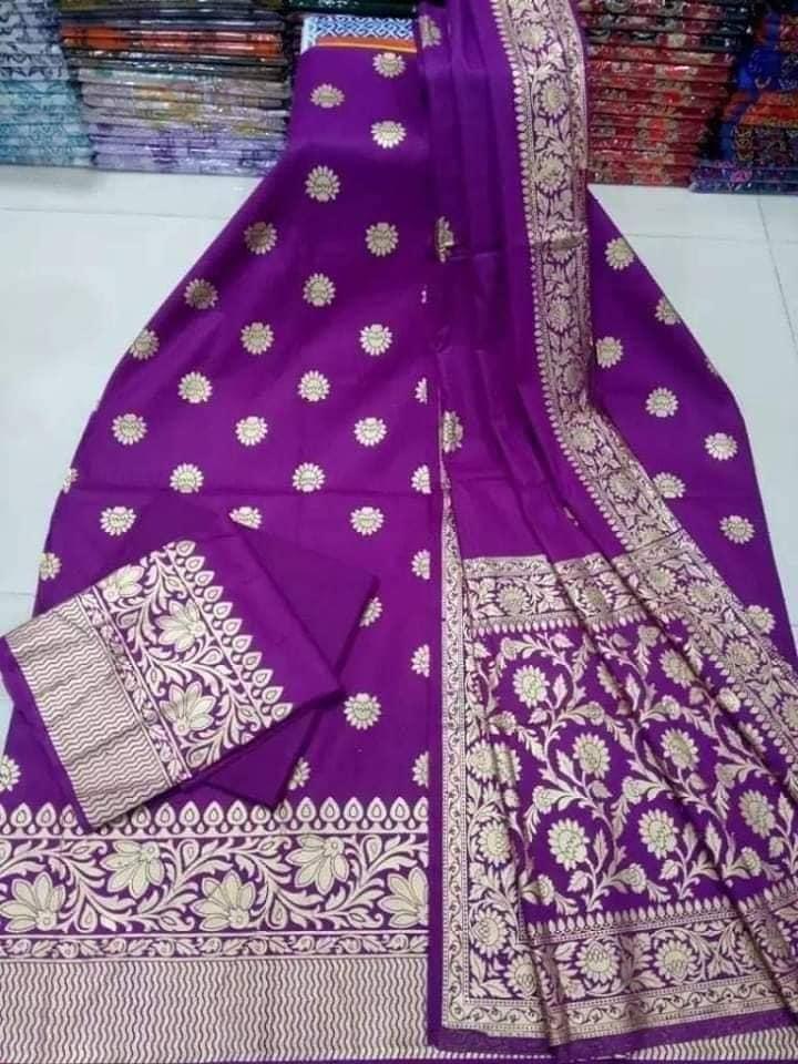 Soft Silk Katan Skin Print Three Piece
