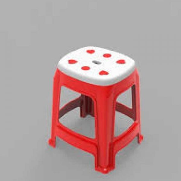 Heart-High-Stool---Red-&-White-(Brand-Akij-Plastics)